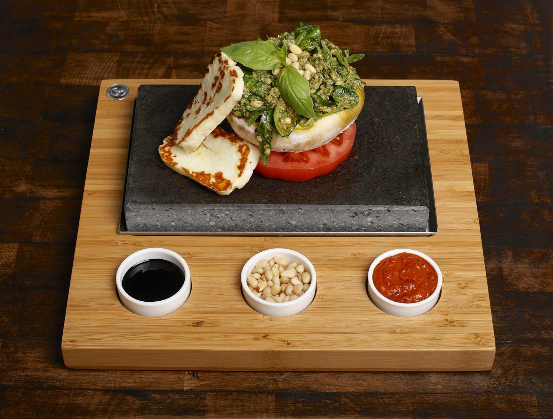 Haloumi, Buffalo Tomato and Basil Pesto on the SteakStones Starter Set
