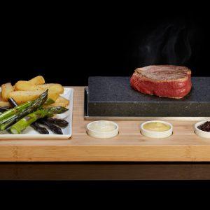 The SteakStones Sizzling Steak Set