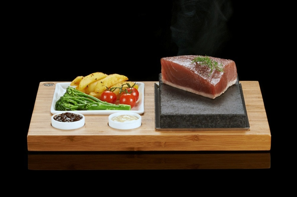The SteakStones Steak, Sides & Sauces Set. The best Hot Stone Products you can find, guaranteed for life.
