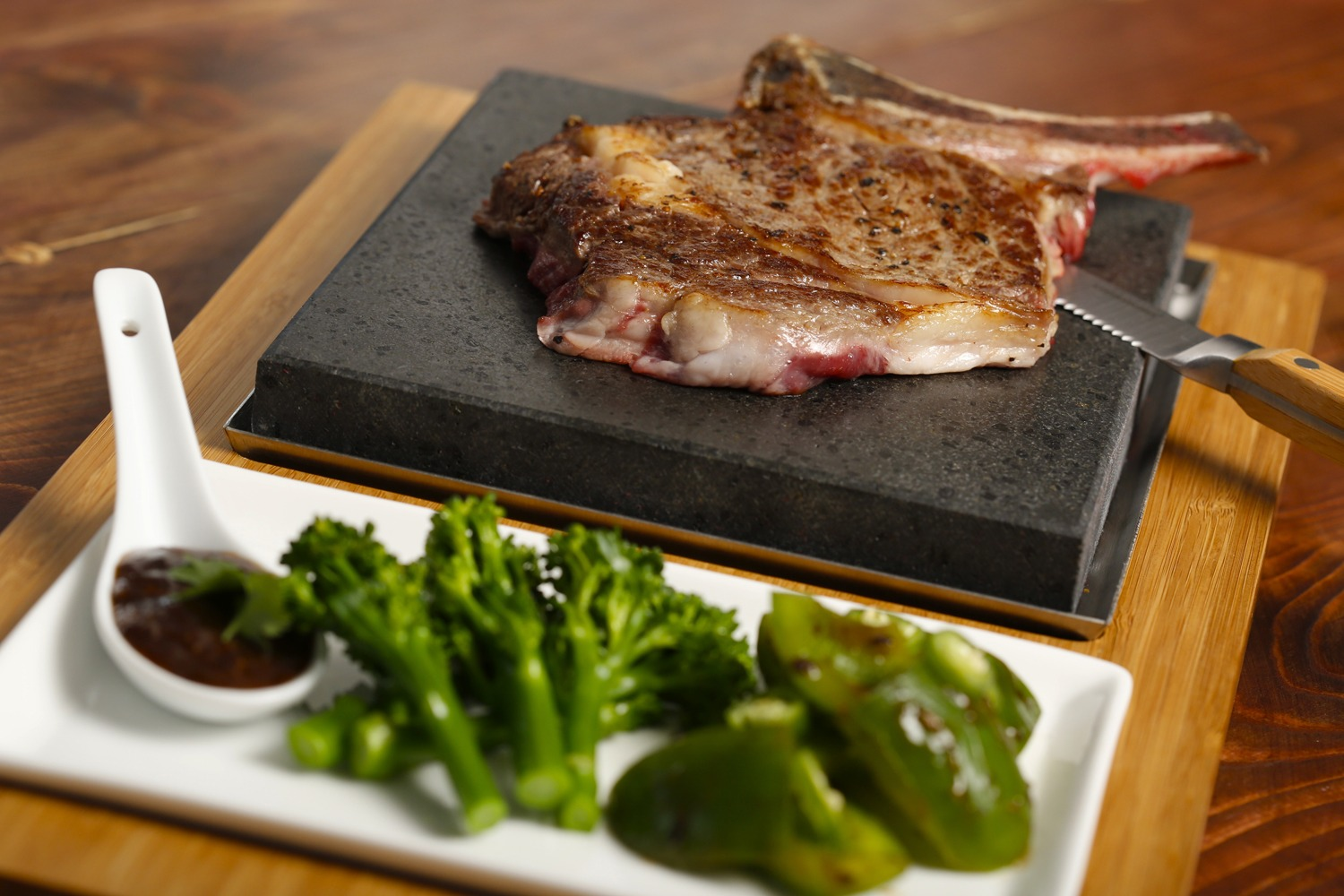 Chinese Style Rib-Eye Cooked on the Stone. Featuring SteakStones Steak Plate and Sides Set - the best Hot Stone Cooking Products Guaranteed