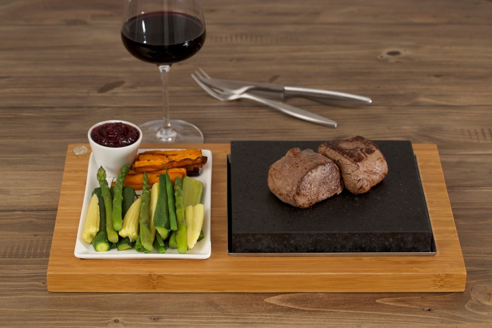 A Due of Venison Fillets, Winter Vegetables & Redcurrant Compote on the SteakStones Steak Plate Set