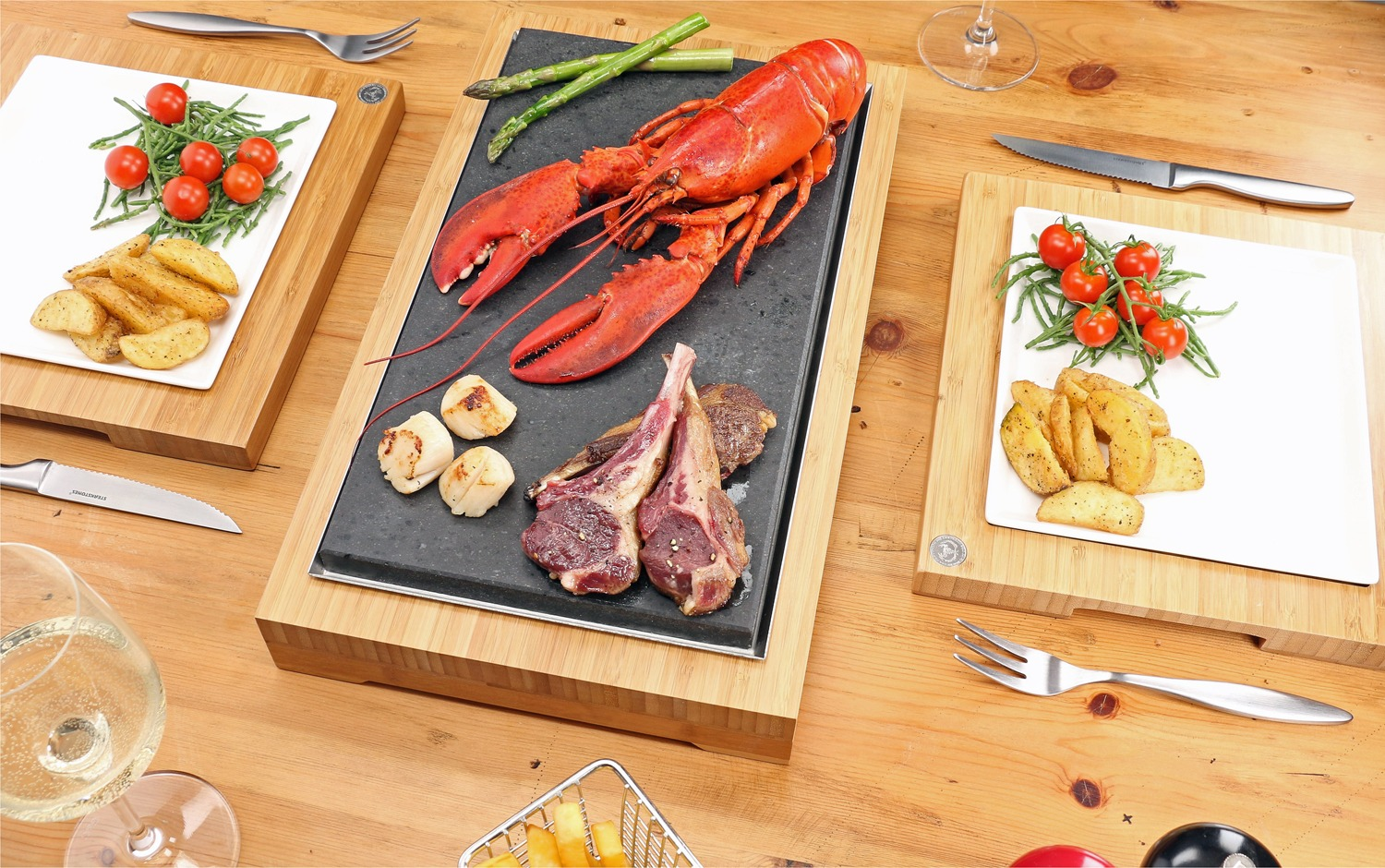 Lamb & Lobster Seared on the SteakStones Raised Sharing Steak Plate